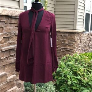 Tobi Neck Tie Tunic NWT wine Burgundy Small
